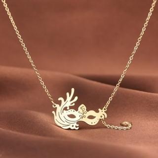 【米蘭精品】玫瑰金項鍊吊墜子(時尚創意面具流行飾品情人節生日禮物71x15)