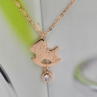 【米蘭精品】玫瑰金鑲鑽項鍊吊墜子(時尚可愛小木馬流行飾品情人節生日禮物2款71x37)