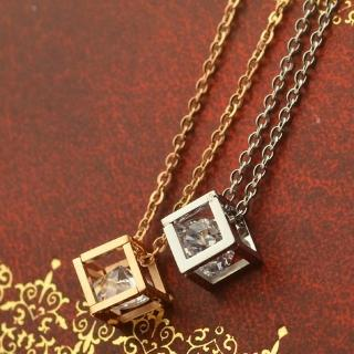【米蘭精品】玫瑰金鑲鑽項鍊吊墜子(小方塊水晶精美流行飾品情人節生日禮物2色71x64)