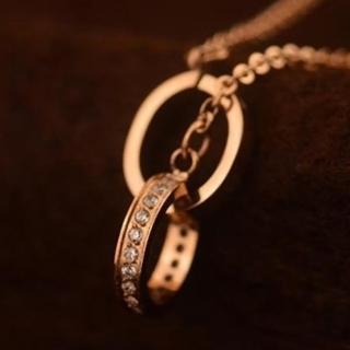 【米蘭精品】玫瑰金鑲鑽項鍊吊墜子(時尚精緻雙環流行飾品情人節生日禮物71x111)