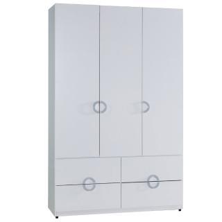 【AT HOME】凱倫4x7尺白色四抽衣櫃