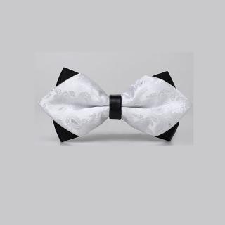 【拉福】高檔尖角領結新郎結婚領結糾糾(白變形紋)  拉福