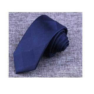 【拉福】藍底大格紋窄版領帶窄領帶手打領帶(藍色)
