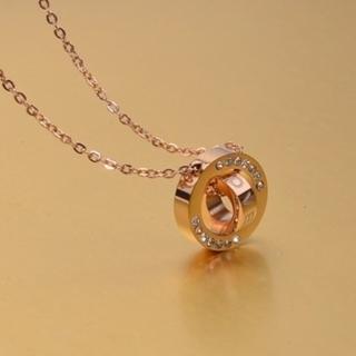 【米蘭精品】玫瑰金鑲鑽項鍊吊墜子(雙環時尚精美流行飾品情人節生日禮物3色71x142)