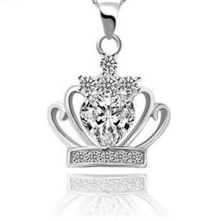 【米蘭精品】皇冠項鍊流行銀飾品(獨特公主風格母親節生日情人節禮物2色73v40)