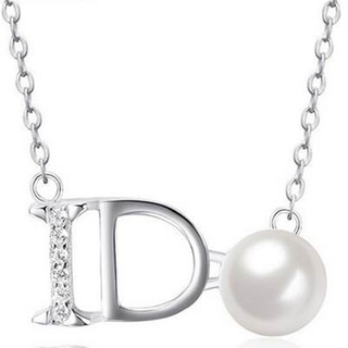【米蘭精品】珍珠項鍊流行銀飾品(流行簡約英文字母母親節生日情人節禮物73v76)
