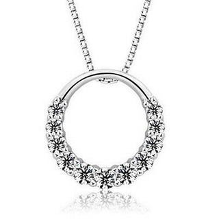 【米蘭精品】鑲鑽項鍊流行銀飾品(圓型精緻氣質母親節生日情人節禮物73v77)
