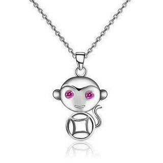【米蘭精品】猴子項鍊流行銀飾品(福氣大方母親節生日情人節禮物2色73v106)