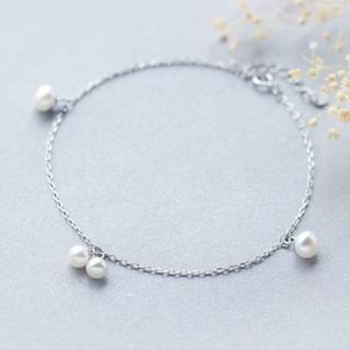 【米蘭精品】腳鍊流行銀飾品(簡約珍珠造型生日情人節禮物73do8)