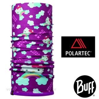 【西班牙 BUFF】兒童 HELLO KITTY 超彈性超細纖維保暖頭巾.可當圍巾.口罩.圍脖(莓紫彩虹 113204)
