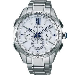 【SEIKO 精工】Brightz 限量鈦計時三眼太陽能電波腕錶(44mm/8B92-0AT0S)
