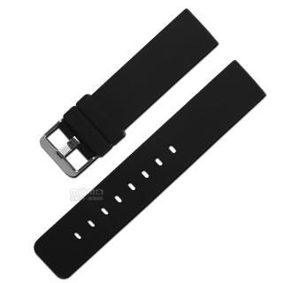 【Watchband】舒適耐用輕便運動型-同寬(矽膠錶帶 黑色)