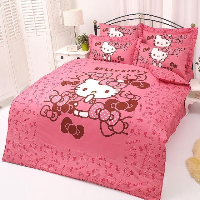 【享夢城堡】HELLO KITTY 我的小可愛系列-精梳棉雙人床罩組(粉)