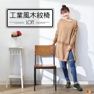 【BuyJM】LOFT工業風曲木木紋餐椅/洽談椅