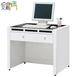 【文創集】米森  時尚白3.1尺玻璃書桌/電腦桌