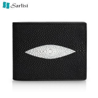【Sarlisi】珍珠魚皮稀有大顆粒真皮短夾(黑色)