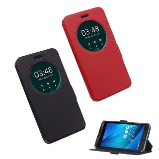 【YANGYI 揚邑】ASUS ZenFone Selfie 5.5吋 星光紋開窗側立防滑智能休眠磁扣皮套(ZD551KL)