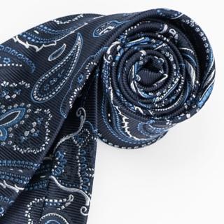 【極品西服】經典品味絲100%格紋領帶_籃底白提花(YT5025)
