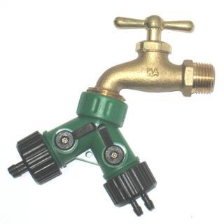 【灑水達人】美規銅製四分水龍頭轉接美規兩分2孔水管雙通開關球閥