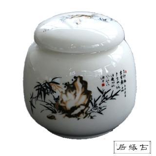 【古緣居_12H】陶瓷密封一兩小茶罐(墨竹清風)