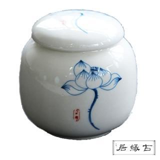 【古緣居_12H】陶瓷密封一兩小茶罐(荷韻清禪)