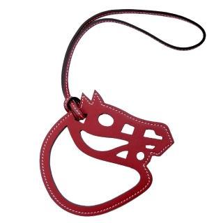 【HERMES】Paddock Cheval Veau Swift 馬頭單色鏤空吊飾(酒紅)