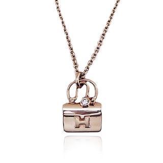 【HERMES】愛馬仕Constance 造型0.04克拉玫瑰金短鍊