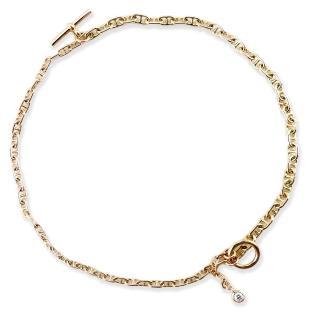 【HERMES】Double Bracelet 18K金弧面單鑽手鍊