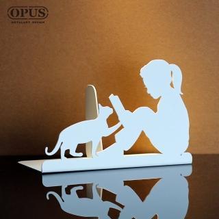 【OPUS東齊金工】歐式鐵藝書擋/創意書架/金屬立書夾/書本收納架/桌上型(NEgr14w 閱讀女孩_優雅白)
