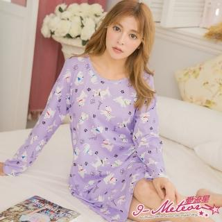【I-meteor日系】PA3178全尺碼-棉質狗狗長袖洋裝連身裙睡衣(恬靜紫)