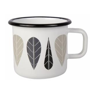 【芬蘭Muurla】黑葉琺瑯馬克杯370cc-白色(咖啡杯/琺瑯杯)