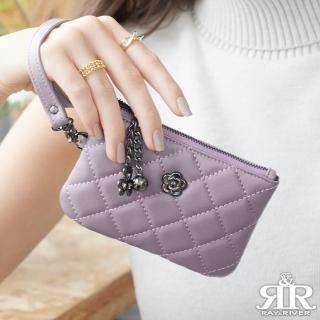 【2R】綿霜羊皮KOKO極軟菱格小拎包 羅蘭粉紫