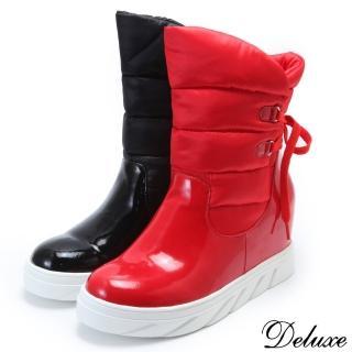 【Deluxe】拼接材質輕柔保暖時尚厚底太空靴(紅-黑)