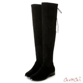 【amai】美腿系列後綁帶貼腿平底過膝靴(絨布黑)