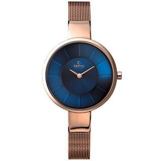 【OBAKU】采麗時刻米蘭腕錶-海藍x玫瑰金(V149LXVLMV)
