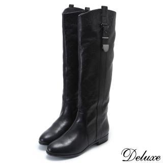 【Deluxe】全真皮時尚俐落感金屬扣環騎士靴(黑)