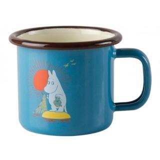 【芬蘭Muurla】嚕嚕米系列-復古嚕嚕米琺瑯馬克杯150cc-藍色(咖啡杯/琺瑯杯)