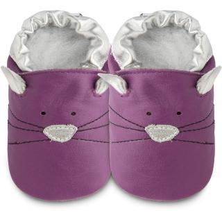 【英國 shooshoos】健康無毒真皮手工鞋/學步鞋/嬰兒鞋_紫貓咪的臉(102789)