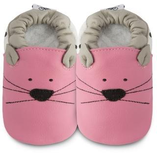 【英國 shooshoos】健康無毒真皮手工鞋/學步鞋/嬰兒鞋_粉貓咪的臉(102790)