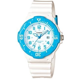 【CASIO】卡西歐運動膠帶女錶-藍 X 白(LRW-200H-2B)