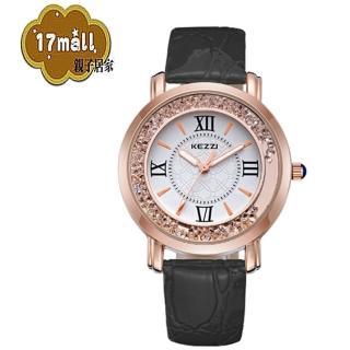 【珂紫KEZZI】羅馬復古創意流沙水鑽皮帶石英手錶(黑)