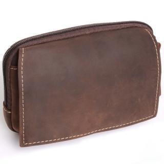 【H-CT】個性瘋馬皮設計橫式真皮手機套小腰包(3819-Z)