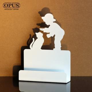 【OPUS東齊金工】歐式鐵藝名片座/高級名片架/名片夾/金屬商務名片盒(CAbo16w 童伴_優雅白)