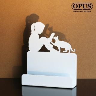 【OPUS東齊金工】歐式鐵藝名片座/高級名片架/名片夾/金屬商務名片盒(CAgr14w 閱讀女孩_優雅白)
