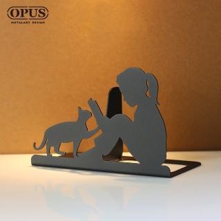 【OPUS東齊金工】歐式鐵藝書擋/創意書架/金屬立書夾/書本收納架/桌上型(NEbo16w 閱讀女孩_經典黑)