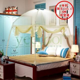 【Yeecool】【快速到貨】蒙古包帳篷式*3門超高穿桿組裝式*米紗蚊帳(6x6.2呎加大床/底部中空底)