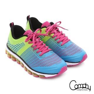【Comphy】3D霸氣囊 透氣網布奈米健走運動鞋(黃綠)