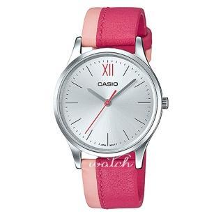 【CASIO 卡西歐】氣質首選_雙色皮革錶帶_防水_指針女錶(LTP-E133L)