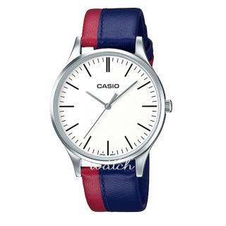 【CASIO 卡西歐】紳士首選_雙色皮革錶帶_防水_指針男錶(MTP-E133L)