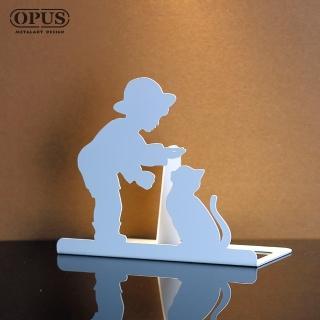 【OPUS東齊金工】歐式鐵藝書擋/創意書架/金屬立書夾/書本收納架/桌上型(NEbo16w 童伴_優雅白)